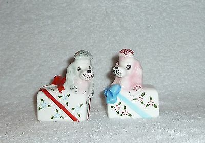 Vintage Anthropomorphic PY Poodle Dog Present Gift Box Salt Pepper Shakers