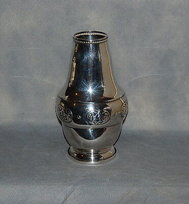 Danish Silverplate Art Nouveau Jugendstil Vase Entwined Leaves Beaded Border
