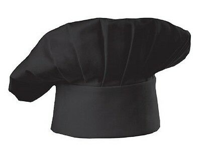 NEW BLACK CHEF HAT - COMMERCIAL - Adjustable - COSTUME