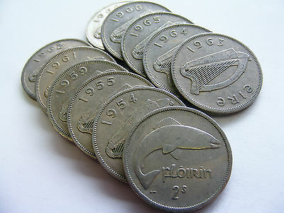Full Set Of Irish Nickel Two Shilling Coins 1951-1968 - 11 Coins - Florin Coin