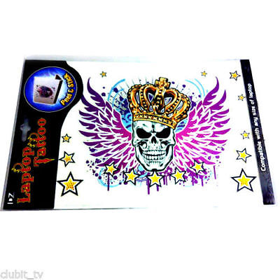Laptop Sticker Tattoo Skull Wings Crown Stars Design Wholesale Lot of 12