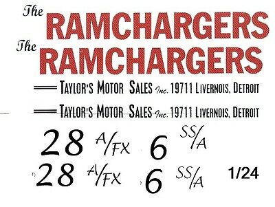 The Ramchargers 1962 Dodge Dart NHRA Drag 1/25th - 1/24th Scale WATERSLIDE DECAL