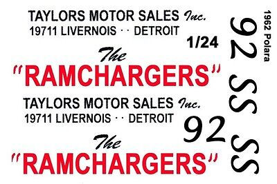 RAMCHARGERS - Taylor Motor Sales 1962 1/25th - 1/24th Scale Waterslide Decals