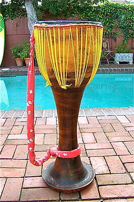"Huge Vintage Antique African Wooden Carved Drum Rare Collectible 35 1/4"" Tall"