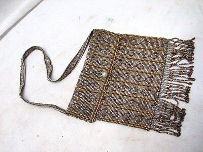 Vintage Micro Bead Metal Beaded Purse Ornate Art Nouveau Hand Made Brass Flapper