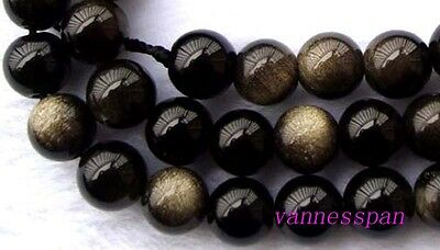"""AAA Natural Gold Obsidian Round Beads 8mm 15"""""""
