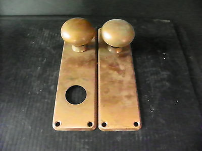 Antique Brass Door Hardware (2 Plates And 2 Knobs)  6282 • CAD $25.20