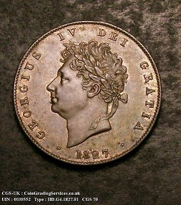 Excellent High Grade 1827 George Iv Halfpenny Cgs Graded 70 Spink 3824