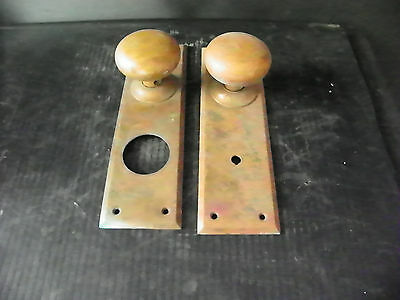 Antique Heavy Brass Door Hardware (2 Plates And 2 Knobs)  6284