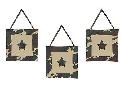 Wall Art Decor Hangings Sweet Jojo Designs Green Camo Military Baby Bedding Set