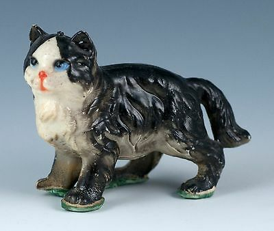 Vintage Miniature Hard Plastic Black and White Cat Figurine Made In Hong Kong