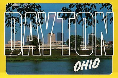 Large Letter Card of Dayton, Ohio, Great Miami River, Skyline etc. OH - Postcard