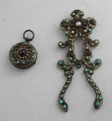 Antique F Schober Watch Jeweled Etched Silver Turquoise Pearl Pendant Amethyst