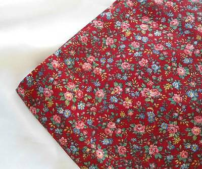 Vintage Cotton Quilt or Dress Fabric Red & Pink Floral Roses