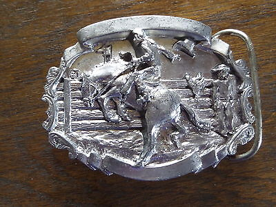 Vintage Belt Buckle Cowboy Rodeo Bronco Horse Riding Bergamot Brass Works 1981
