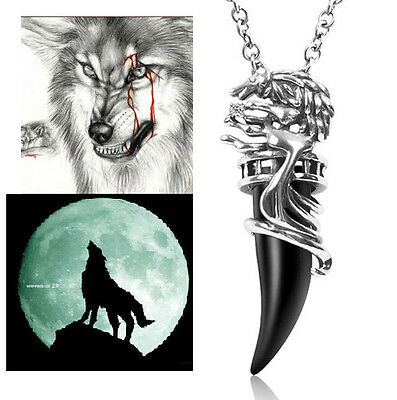 Mens Titanium Steel Black Wolf Tooth Teeth Man Pendant With Ball Necklace MN19