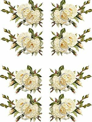 Vintage Image Shabby Victorian White Rose Spray Swag Waterslide Decals FL276