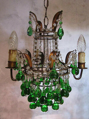 Italian Macaroni Beaded Crown Chandelier w/ Green Colored Drops