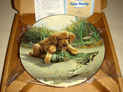 JIM LAMB Puppy Playtime Chewy Rubber Boot & Golden Retriever CATCH OF DAY Plate