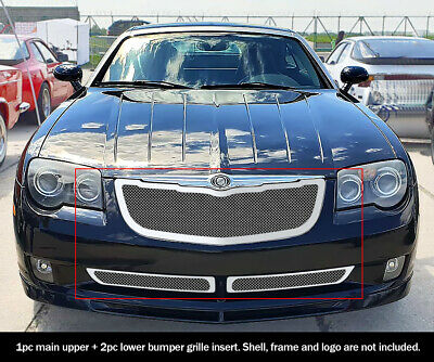 Fits Chrysler Crossfire Stainless Mesh Grille Combo 04-08