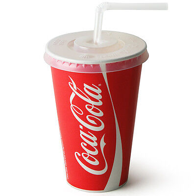 100x Coca Cola 12oz Cup & Lids Straw Slot Disposable Paper Coke Cold Drink Cups