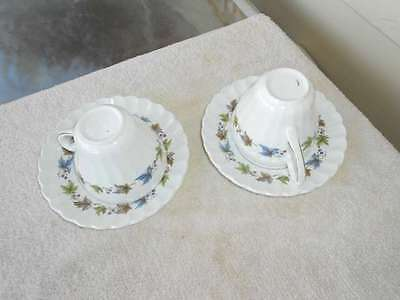 2 J&G Meakin Woodland Cups & Saucers Classic White England Unmarked