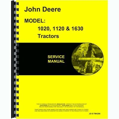 New Service Manual For John Deere Tractor 1120