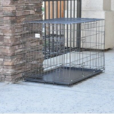 """Black Grid 42"""" 2 Door Foldable Suitcase Wire Metal Pet Dog Crate Cage Kennel"""