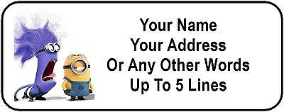 30 Purple / Yellow Minions Personalized Address Labels / Despicable Me