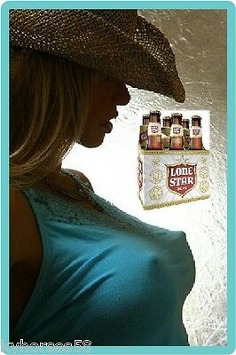 Lonestar Beer Sexy Cowgirl In Blue Top Refrigerator Toolbox Magnet