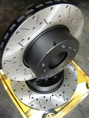 CROSS DRILLED & SLOTTED Commodore VT VU VY VX VZ Front Disc Brake Rotors PAIR
