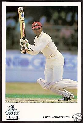 KEITH ARTHURTON (West Indies) OFFICIAL TCCB CRICKET POSTCARD No 8
