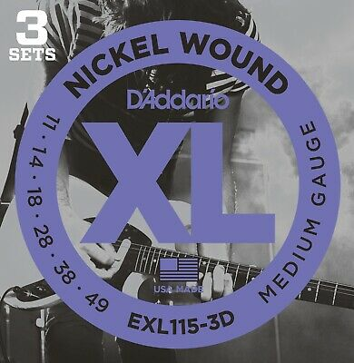 D'Addario EXL115 3 pack Electric Guitar Strings Light 11 - 49 - New