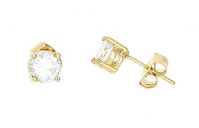 18Kt Yellow Gold Plated Round Cubic Zirconia Solitaire Stud Earrings