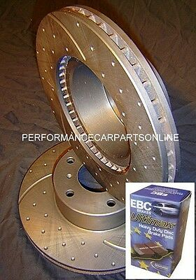 DRILLED SLOTTED Mitsubishi Lancer CJ VRX Ralliart FRONT Disc Brake Rotors & PADS