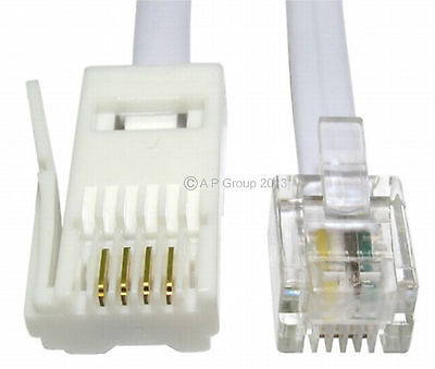 5m RJ11 to BT Modem Cable Lead Telephone Phone Plug BT Socket 4 Pin STRAIGHT