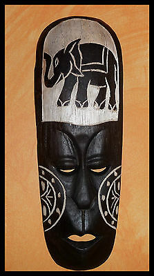 Fair Trade Hand Carved Wooden Tribal Ethnic Tiki Jungle Wall Elephant Mask 32 cm