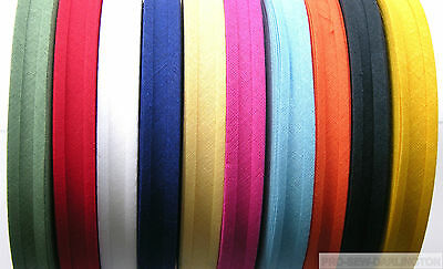 16mm COTTON BIAS BINDING TAPE 33 METRE FULL ROLL ( CHOICE OF COLOURS )