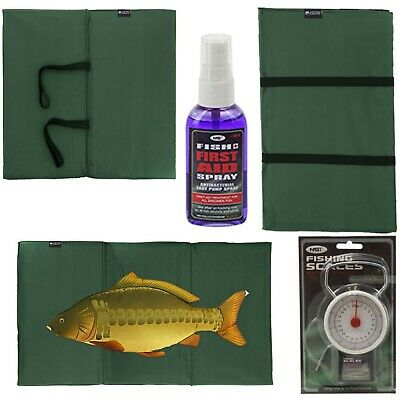 NEW CARP FISHING UNHOOKING LANDING MAT + 50LB / 22KG SCALES + Fish Aid Spray