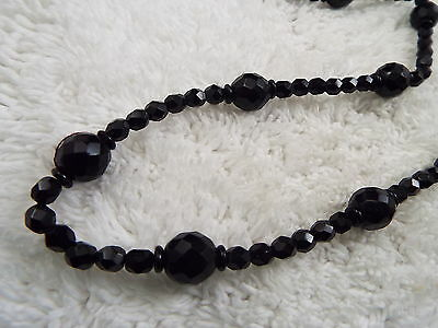 Black Faceted Glass Bead Necklace (C79)