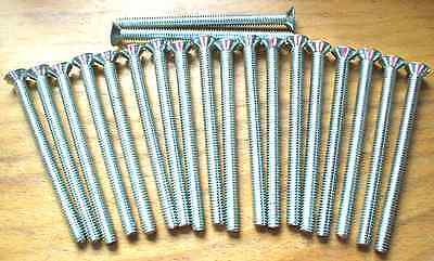 "80 - Flat Head Machine Bolts - 3&1/2"" Steel Brite Zink 1/4""- NC-20"