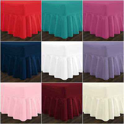 Plain Frilled Fitted Valance Sheet Poly Cotton Sheets Single Double Super King