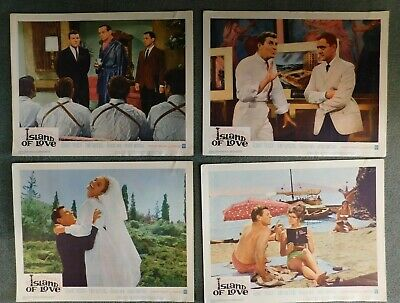 "1963 ""Island of Love"" Lobby Card Set of 8 Used Excellent Color Vintage"