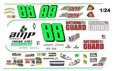 #88 Dale Earnhardt jr AMP Sugar Free 1/25th - 1/24th Scale Waterslide Decals