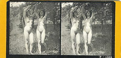 Stereo Druck ca 1920 Pin-up girl nude nus nackt Akt Busen busty Po butt Nudist