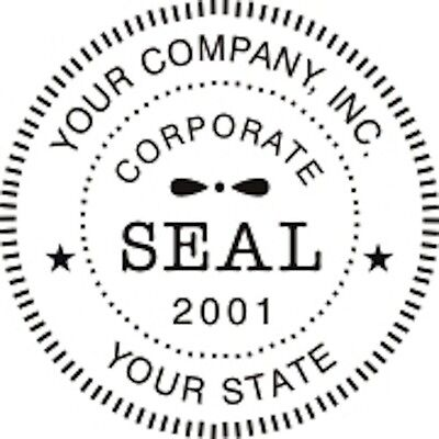Self-Inking Round Corporate Business Company Logo Seal Rubber Stamp, New
