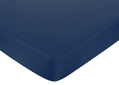Sweet Jojo Designs Nautical Boat Crib or Toddler Fitted Sheet - Navy Blue Cotton