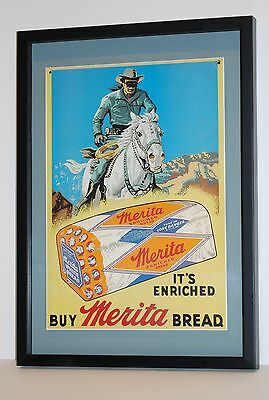 Lone Ranger Avertisement Poster for Merita Bread in 12x18 Wooden Frame (MS118)
