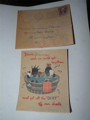 1930's VINTAGE BLACK AMERICANA GREETING CARD children