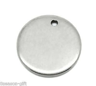"""50PCs Silver Tone Stainless Steel Round Pendants 10mm( 3/8"""")"""